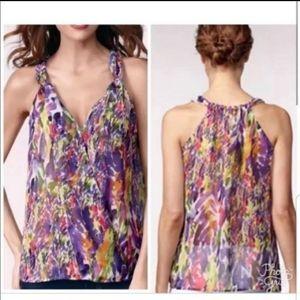 CABI petals floral chiffon faux wrap top blouse S